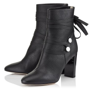 Black Vegan Boots Round Toe Strappy Chunky Heel Ankle Boots