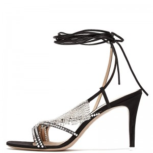 Black Satin Rhinestones Stiletto Heel Ankle Strap Sandals