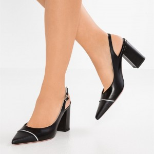 Black Slingback Heels Pointy Toe Chunky Heel Pumps