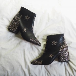 Black Star Glitter Boots Block Heel Ankle Boots