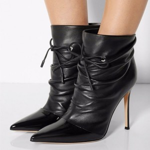 Black Slouch Boots Pointy Toe Stiletto Heel Ankle Booties for Women