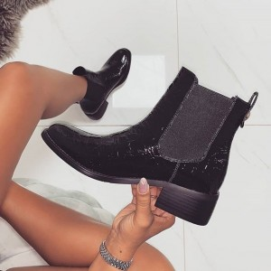 Black Stone Pattern Chunky Heel Chelsea Boots Round Toe Ankle Booties