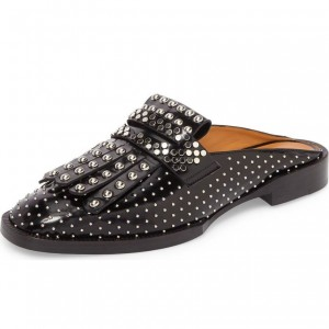 Black Loafer Mules Round Toe Studs Shoes Flat Fringe Loafers for Women