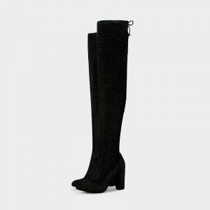 Black Suede Boots Rhinestone Chunky Heel Thigh High Boots