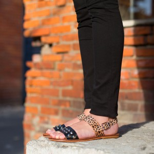 Black Suede Leopard Print Flats Studded Comfortable Sandals