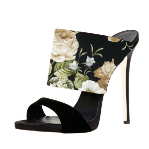 Black Suede Open Toe Stiletto Heels Floral Mule Sandals