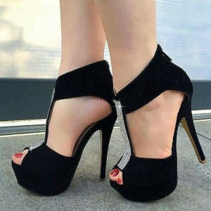 Black T-Strap Pumps Rhinestone Stiletto Heel Platform Shoes