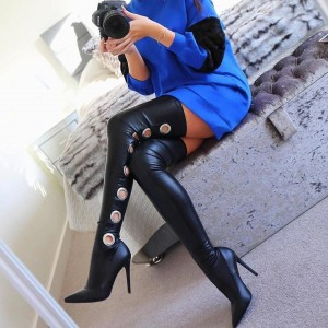 Black Thigh High Heel Boots Sexy Metal Circle Stiletto Heel Long Boots