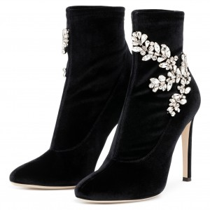 Black Velvet Boots Rhinstone Embellished Stiletto Heel Booties