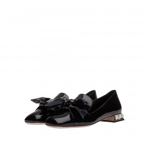 Black Vintage Bow Patent Leather Loafers for Women