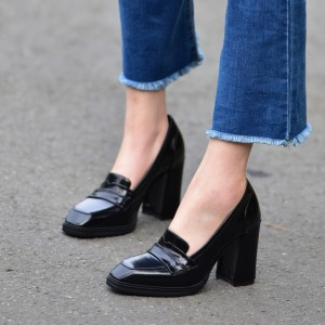 Black Block Heel Square Toe Heeled Loafers for Women