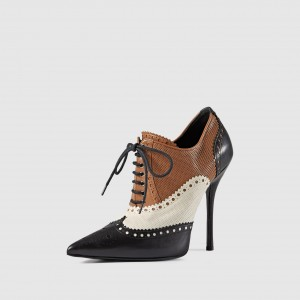 Black white and Brown Lace Up Boots Stiletto Heel Boots