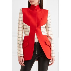 Women's Red Checked Wool Jacket for Work
