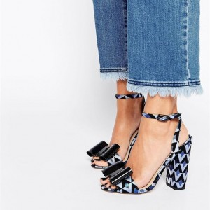 Blue and Black Floral Bow Ankle Strap Block Heel Sandals