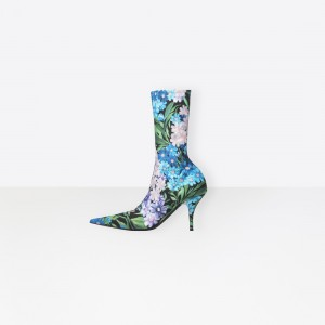 Floral Sock Boots Pointy Toe Lycra Fashion Booties US Size 3-15
