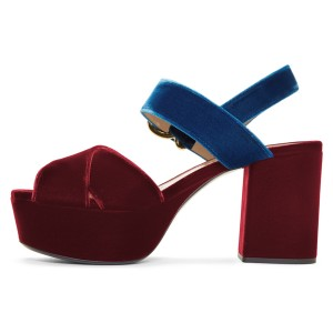 Blue and Maroon Block Heel Sandals Open Toe Platform Sandals