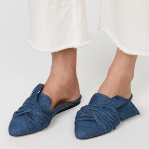 Blue Denim Mule Almond Toe Flats Jean Loafers for Women