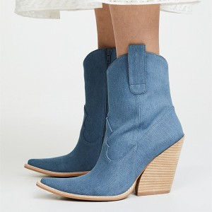 Blue Denim Square Toe Cowgirl Boots Chunky Heels Ankle Booties