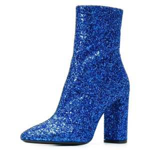 Blue Glitter Boots Chunky Heel Pointy Toe Ankle Boots