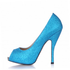 Blue Glitter Peep Toe Heels Platform Stiletto Heel Pumps for Women