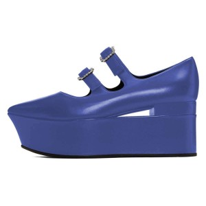 Blue Mary Jane Buckles Platform Heel Pumps
