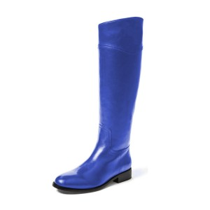 Blue Riding Boots Shiny Vegan Leather Round Toe Flat Knee Boots