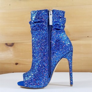 Blue Slouch Boots Glitter Stiletto Heel Peep Toe Booties