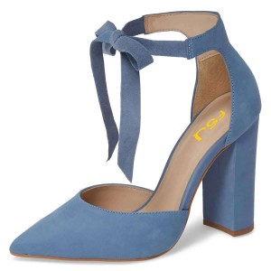 Blue Suede Ankle Strap Heels Bow Pointy Toe Chunky Heel Pumps