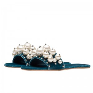 Blue Velvet Pearl Women's Slide Sandals