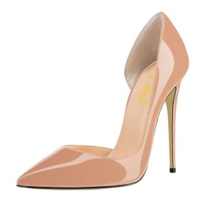 Blush Heels Patent Leather Nude D'orsay Pumps Stiletto Heels