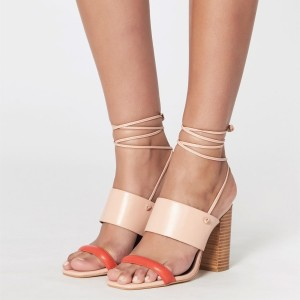 Blush Slingback Strappy Sandals Open Toe Block Heel Sandals