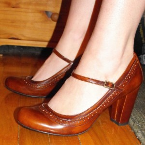 Tan Block Heel Hollow Out Mary Jane Pumps