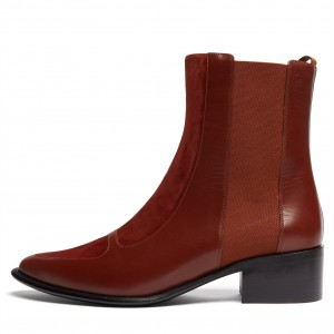Brown Chelsea Boots Flat Ankle Boots