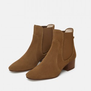 Brown Chelsea Boots Round Toe Block Heels Ankle Booties