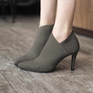 Grey Fall Boots Pointy Toe Stiletto Heel Vintage Ankle Booties
