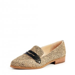 Leopard Print Slip-on Flat Penny Loafers for Women