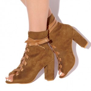 Brown Lace Up Boots Suede Peep Toe Ankle Boots Retro Chunky Heel Boots