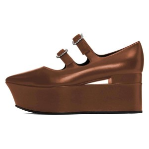 Brown Mary Jane Buckles Platform Heel Pumps