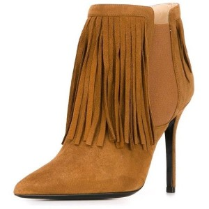Brown Pointed Toe Stiletto Heel Vintage Chelsea Boots with Fringe