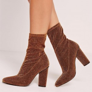 Brown Sparkly Stretch Heeled Ankle Booties Pointy Toe Sock Boots