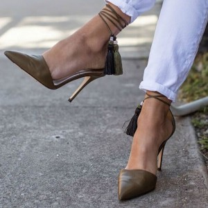 Brown Stiletto Heels Pointy Toe Tassels Ankle Strap Pumps