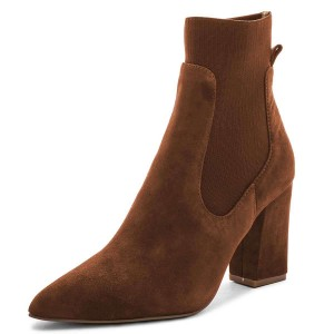 Brown Suede Chelsea Boots Chunky Heel Ankle Boots