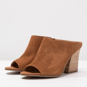 Brown Suede Python Block Heel Mules Sandals