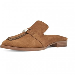 Tan Suede Loafer Mules Comfy Round Toe Flat Loafers for Women