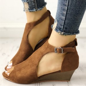 Brown T Strap Peep Toe Wedge Sandals Vintage Suede Shoes for Women