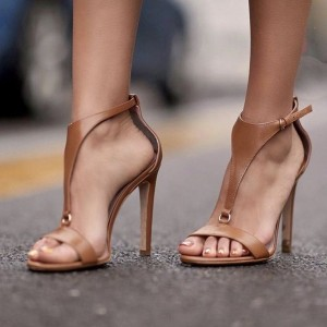 Tan T Strap Stiletto Heels Open Toe Sandals for Women
