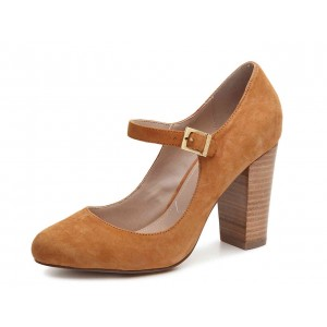 Brown Wood Chunky Heels Mary Jane Shoes Round Toe Pumps