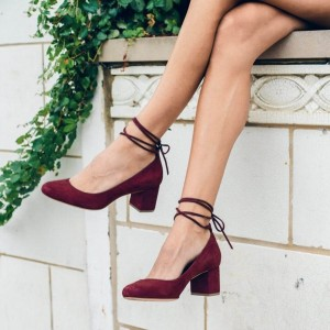 Burgundy Heels Strappy Suede Block Heel Pumps US Size 3-15
