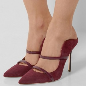 Burgundy Heels Pointy Toe Stiletto Heel Mules for Office Ladies