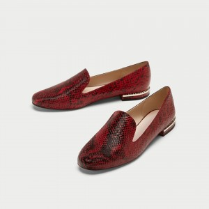 Burgundy Python Loafers for Women Round Toe Flats with Rhinestone